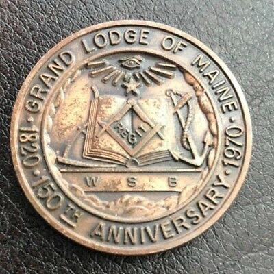 1970 Solid Bronze Masonic Coin 150th Anniversary First Grand Master Maine Lodge