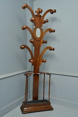 Victorian Mahogany Mirrored Coat, Hat, Stick, Hall Stand