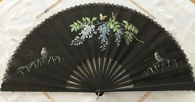 Beautiful Large Hand Painted Victorian Fan Carved Ebony Sticks