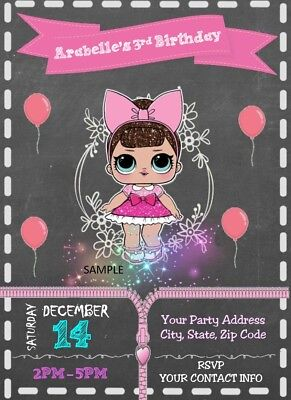 Lol Surprise Birthday Party Chalkboard Invitations - Digital You Print / R3