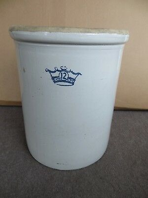 Antique 12 Gallon Robinson Ransbottom Earthenware Crock Stoneware Vintage