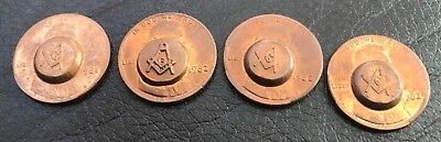 Free Mason Lot (4) Masonic Punch Stamp Coins 1981 + 1982 (3) LINCOLN Cent/Penny