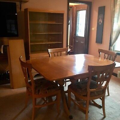 REDUCED Mid Century Dining Room Table, 4 Chairs, 3 leaves ++ China Hutch by RWAY