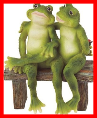 SS G 61040 2 Frogs On Bench Garden Decoration Collectible Figurine Statue Model