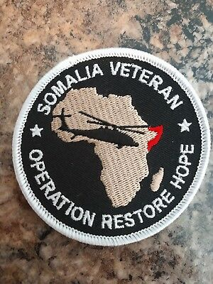 Somalia Veteran Patch Operation Restore Hope Blackhawk Down Helicopter Mogadishu