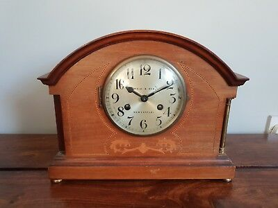 Antique 1920's Reid & Sons Mahogany and Brass Inlaid Mantle Clock with Pendulum