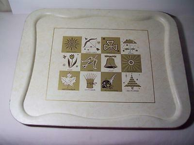 Vintage TV Trays 3 Pc. Lot 12 Months W/ seasons & symbols Tole Tray 16 X 20 1/2