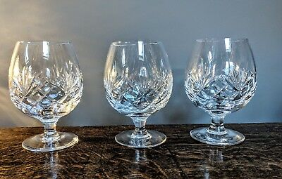 3 Cut crystal brandy whiskey port glasses great quality + 1 free 2nd quality