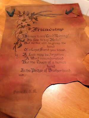 Arts & Crafts Motto Poem-Hand Painted Hand Made Antique Vintage LEATHER Banner