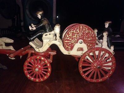 Vintage Cast Iron Toy Horse Drawn Fire Hose Wagon With Two Men