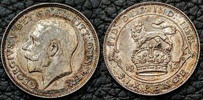 1912 Great Britain Silver 6 Pence, Sixpence, Lustrous BU, KM 815 Toned Beauty