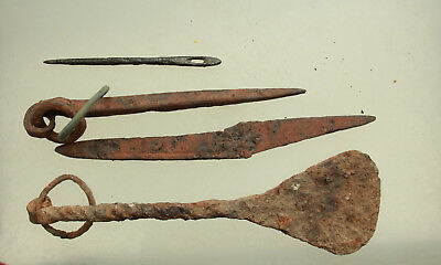 Lot of 4x Ancient Roman Iron Tools L=73-140mm