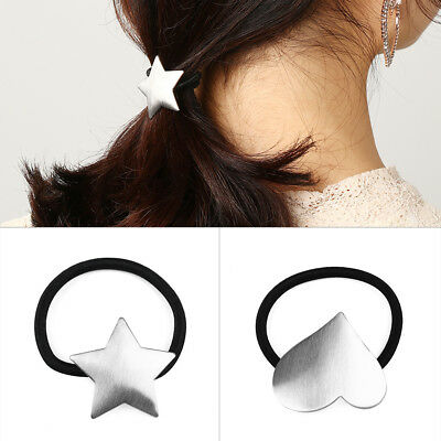 Shape Star   Triangle  Alloy Hair Band Girl Rope Metal Elastic Ponytail Holder