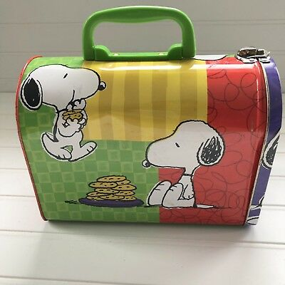 Vintage Snoopy & Cookies Mailbox Lunch Box Metal Tin Peanuts Cartoon 8 x 4 x 6