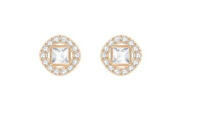 3ba9f7052 New Authentic Swarovski ANGELIC SQUARE PIERCED EARRINGS, WHITE ROSE GOLD  5352049