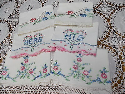 3 Pairs Vintage Pillowcases Hand Embroidered Crochet  Hers & His & Flora Lot