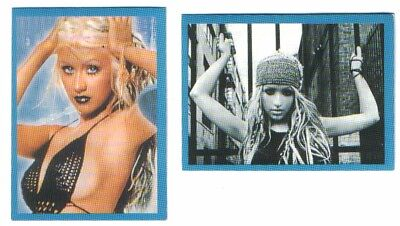 CHRISTINA AGUILERA -2 Stickers # 60,61-2003 Super Stars Serbian press+Empty pack