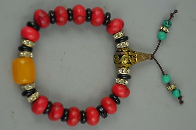 Collect China Handmade Tibet Copper Coral Carve Bead Rare Elastic Bracelet Gift