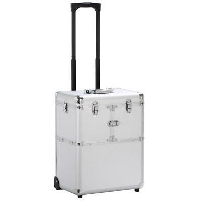19'' Aluminum Trolley Makeup Case Rolling Beauty Cosmetic Lock Box w/ Hand Silve