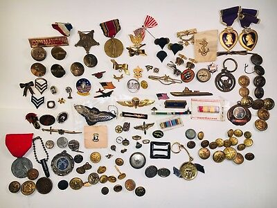 Huge Lot Of Military WW2  Vietnam War Pins Metals And Vintage Buttons Misc.