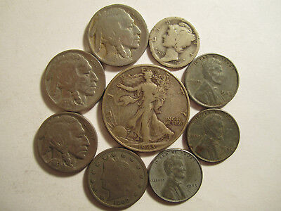 Lot of 9 US Type coins w/ Some 90% Silver Old US Coins Collection *3894
