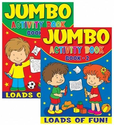 2 x JUMBO CHILDRENS KIDS PUZZLE COLOURING ACTIVITY FUN BOOKS DOT TO DOT UK 1 & 2