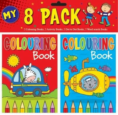 8 x A6 CHILDREN'S COLOURING ACTIVITY WORD SEARCH BOOKS FUN PICTURE LEARNING GIFT