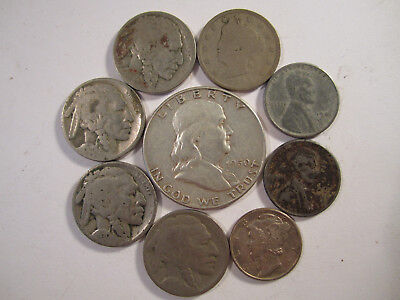 Lot of 9 US Type coins w/ Some 90% Silver Old US Coins Collection *2263