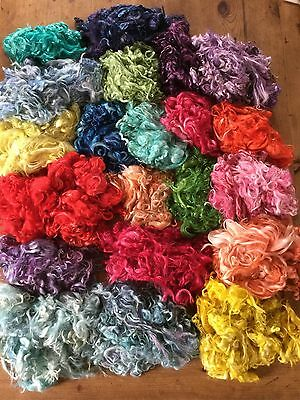 25g Bag Hand Dyed Suri Alpaca Locks, Needle Felting Or Spinning