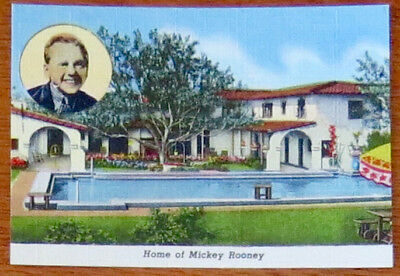 Vintage 1940s Souvenir Card - HOME OF MICKEY ROONEY - Western Publ. & Novelty Co