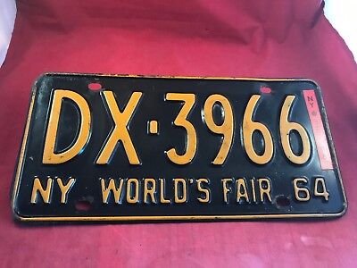 NY Worlds Fair 1964 New York State License Plate + Registration Tag 1965   64 65