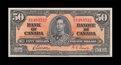 1937 BANK OF CANADA KGVI $50 **Gordon & Towers** (( EF+ ))