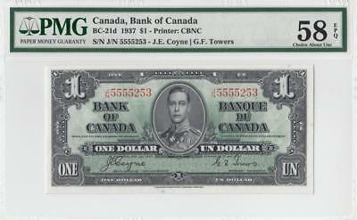 1937 BANK OF CANADA KGVI $1 **Coyne & Towers** ~Consec 1 of 2~ (( PMG 58 EPQ ))