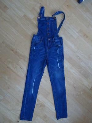 MISS EVIE girls blue denim dungarees AGE 10 YEARS EXCELLENT COND