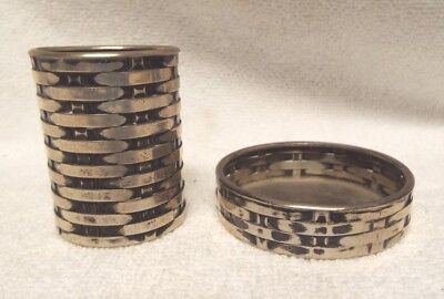 2 Vintage Tiffany And Co Sterling Silver Basket Weave Small Containers