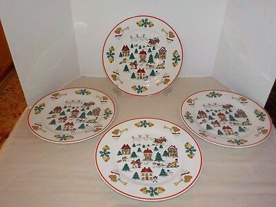 """THE JOY OF CHRISTMAS"" Jamestown China 4 Dinner Plates- 10 ½"" (2 Sets Available)"