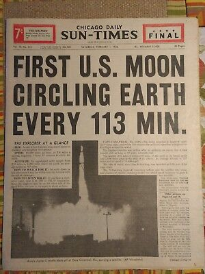 Chicago Sun Times Newspaper Feb 1 1958 First US Moon Circling Earth Every 113 Mn