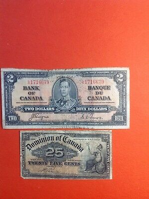 "1937 ""Bank of Canada"" $2 Bank Note Rare Collect able Bill and 1900 25c Bill"
