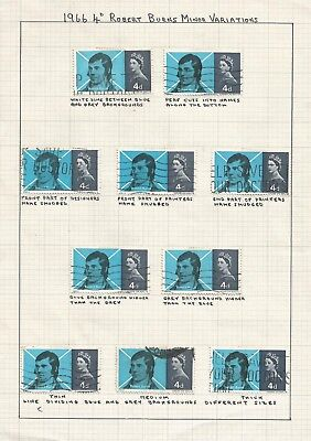 1966 BURNS 4d COMMEMORATIVES WITH FLAWS/VARIATIONS.