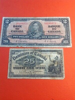 "1937 ""Bank of Canada"" $2 Bank Note Rare Collect able Bill With Old 1900 25c Bill"