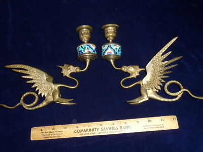 ANTIQUE PAIR of BRASS GRIFFIN CANDLE STICKS with FRENCH ENAMEL by LONGWY