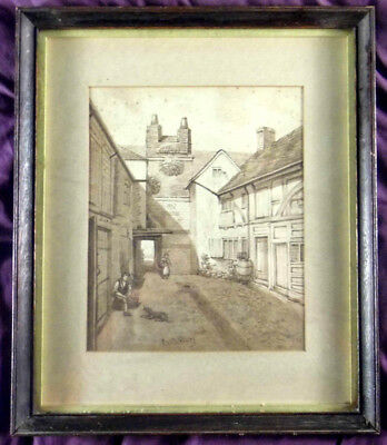 Early 19th Century Fine Quality Watercolour, Star Court, Canterbury - Antique