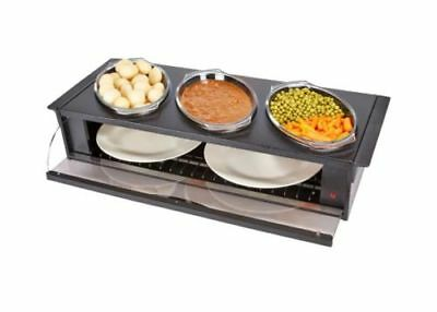 Hostess H0392BL Buffet Server with 3 Heat Resistant Dishes - Black