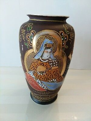 Antique Japanese Moriage Satsuma Gold Gilt Vase:  Marked