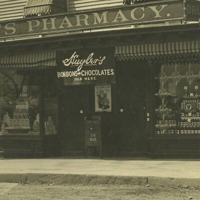Antique 1900's Large Photo,W.Post Rd,Pharmacy Drug Store,Chocolate Mamaroneck,NY