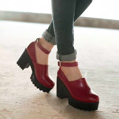 WOmen's Platform Chunky Block Heels Round toe Ankle Strap Pumps Mary Janes Shoes