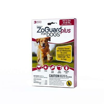 ZoGuard Plus for Dogs 45-88 lbs. 3 Month Supply (3 Applicators) NIP Sealed