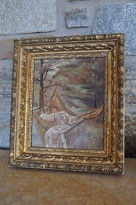 Victorian Woman in Hammock / Antique19th Cent Oil Painting / Original gilt frame