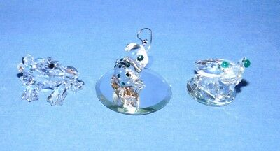 3 Small Crystal Frogs - 1 is Swarovski
