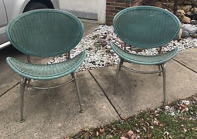 Pleasant Vintage Mid Century Salterini Matching Wicker Metal Chairs Dailytribune Chair Design For Home Dailytribuneorg